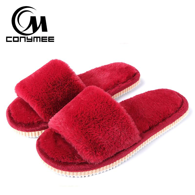 3d5a8574fe8d43 CONYMEE Winter Slippers 2018 Women Autumn Faux Fur Home Shoes Plush Slipper  Ladies Cotton Indoor House Slippers Woman Flat Shoes Red Shoes Moon Boots  From ...