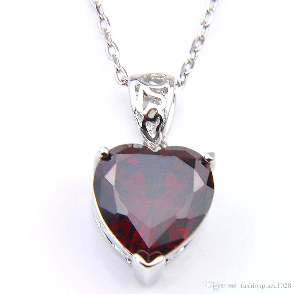 LuckyShine Holiday Jewelry Gift Love Heart Red Garnet Gems 925 Silver Pendant Necklace With Chain