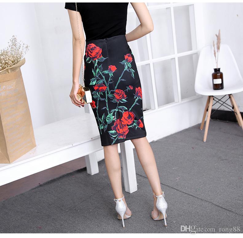 5988319be0b4 2019 2018 Summer Style Pencil Skirt Women High Waist Green Skirts Vintage  Elegant Bodycon Floral Print Midi Skirt From Rong88, $8.05   DHgate.Com
