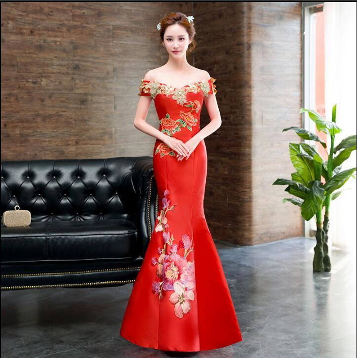 b07585943 2019 Modern Chinese Traditional Dress Red Long Qipao Flower Mermaid Wedding  Bridal Cheongsam Dress From Elizabethy, $120.96 | DHgate.Com