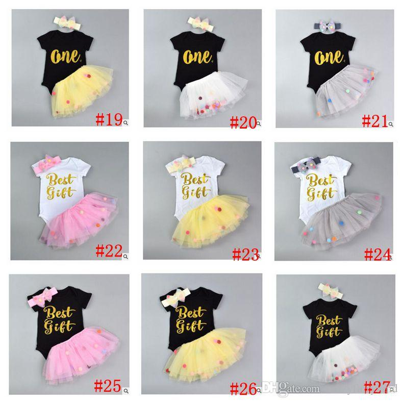 Girls Clothes Romper with Headband Tulle Ball Skirt Girls Clothes Baby Cotton Romper Cute Skirt Kids Clothing 28 Styles DHL