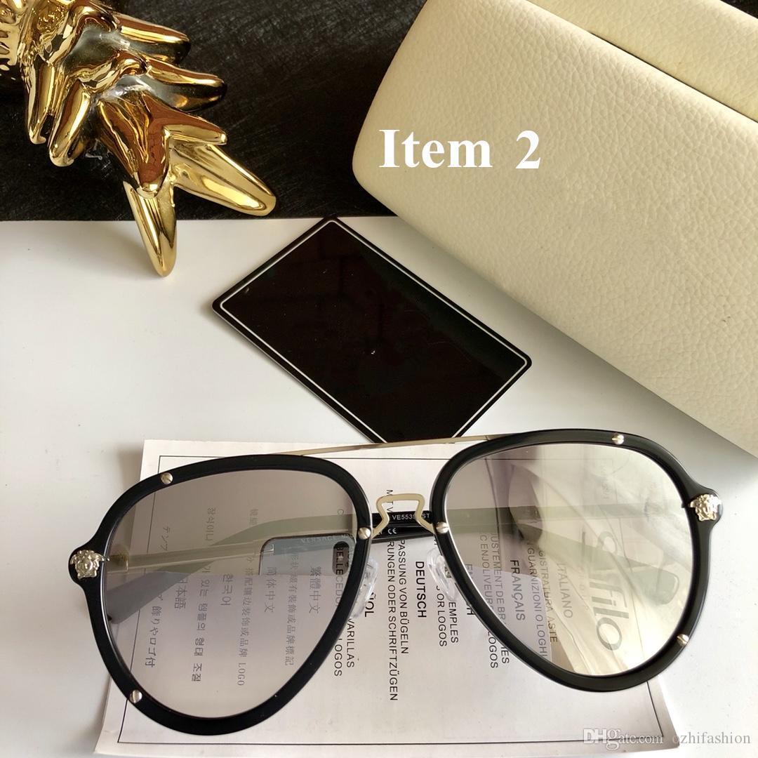 acfb8e6660ce3 Compre Moda De Luxo Marca Versace VE5539 Óculos De Sol Retro Dos Homens Do  Vintage Designer De Marca Logotipo Do Laser Brilhante Homem Mulheres Top  Quality ...
