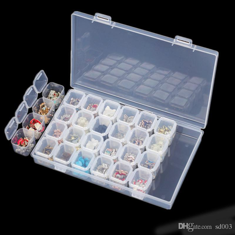 2018 Practical Nail Art Storage Box Empty 28 Grids Compartment ...