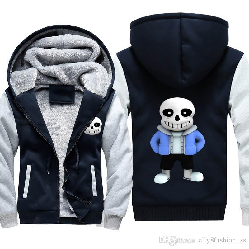 undertale костюмы толщина толстовки взрослый бархат Бейсбол кофты без мужчин зимняя куртка шляпа пальто M-5XL большой размер