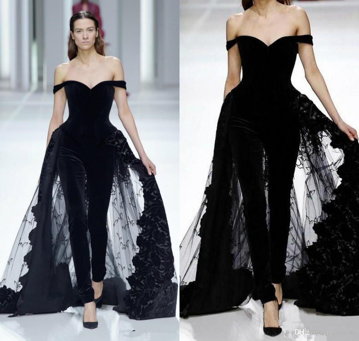 Acheter 2019 Femmes Mode Robes De Soirée Combinaisons Hors Épaule  Overskirts Tulle Robe En Dentelle Robes De Bal Occasion Spéciale Robes De  Soirée De
