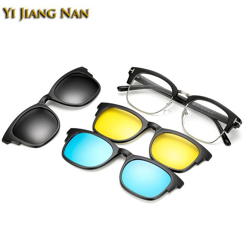 46e260817 Compre Yi Jiang Nan Marca TR90 Quadros De Moda Designer De Óculos Lentes  Clipe Ímã Quadro Óculos De Sol Lentes Polarizadas 3 Clips De Shuidianba, ...