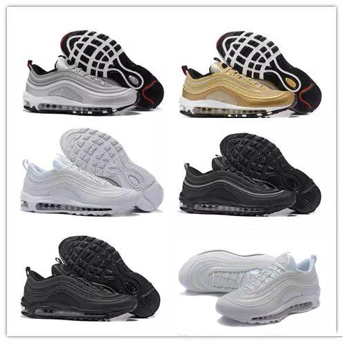 uk availability 357c7 9eb76 Acquista Nike Air Max Airmax 97 Donna 97 Scarpe Da Corsa 97s Silver Bullet  Triple Bianco Balck Metallic Gold Uomo Casual Sport Scarpe Da Ginnastica  Sneakers ...