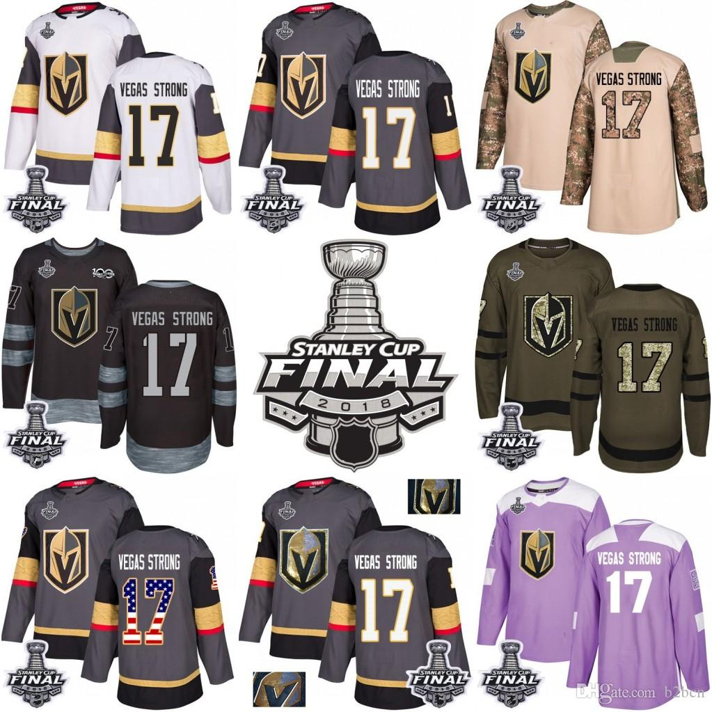 7390a0dd8 2019 2018 Stanley Cup Final 17 Vegas Strong Vegas Golden Knights Green Gray  USA Flag Fashion Purple Fights Cancer Practice Gold Hockey Jerseys From  B2bcn