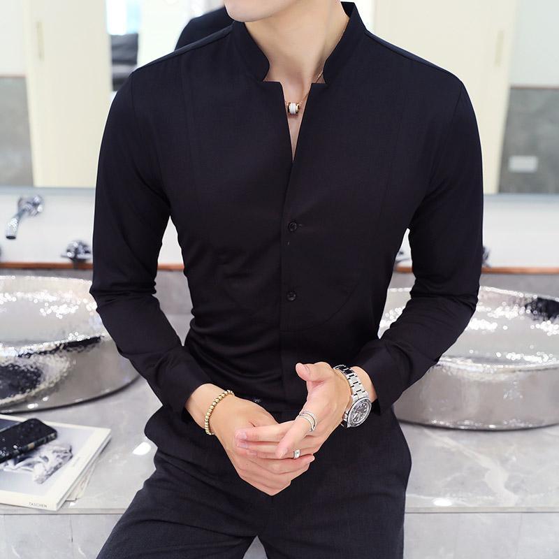 0396d1c325 Compre Otoño Invierno Stand Collar Para Hombre Camisas De Vestir De Manga  Larga Negro Rojo Blanco Delgado Elegante Joven Hombre Boda De Negocios  Camisa ...