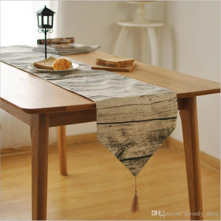 wood grain table runner grey cotton linen table cloth flag towel rh dhgate com