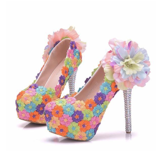 Fashion Colorful Flower Lace Crystal Heel Woman Shoes 14cm High ... b7878da1a444