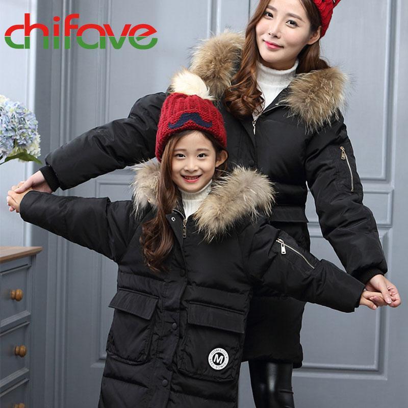 chifave семьи соответствующий наряд куртка толстые теплые длинные молнии пальто с капюшоном меховой воротник мама дочь верхняя одежда новорожденных девочек одежда