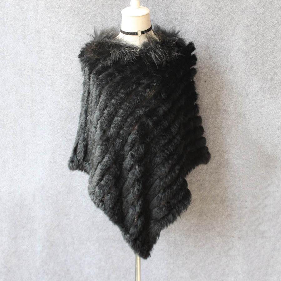 genuine knitted rabbit fur poncho with raccoon fur collar real fur shawls and wraps big size pullover spring capes for femmes