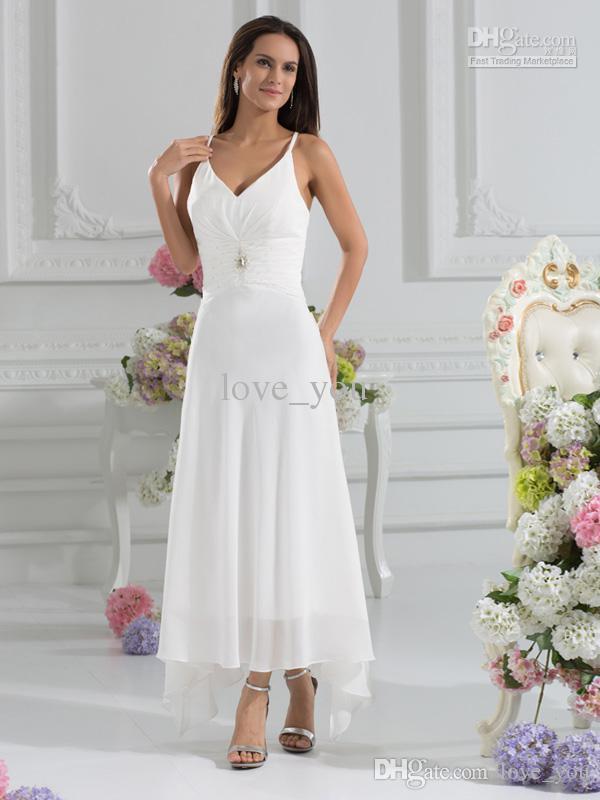 Gasa asimétrica playa de verano con un abrigo de una línea Zip espalda espaguetis vestidos de novia Imperio cintura cabestro más el tamaño vestido de novia de maternidad
