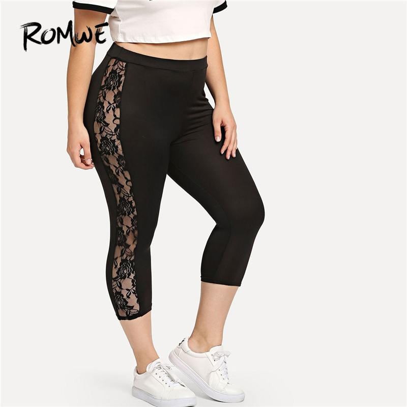 4340adc2865f7 2019 Romwe Sport Plus Size Solid Black Sheer Lace Panel Women Cropped Yoga  Tights 2018 Female Gym Fitness Sports Pants Yoga Leggings From Jaokui, ...