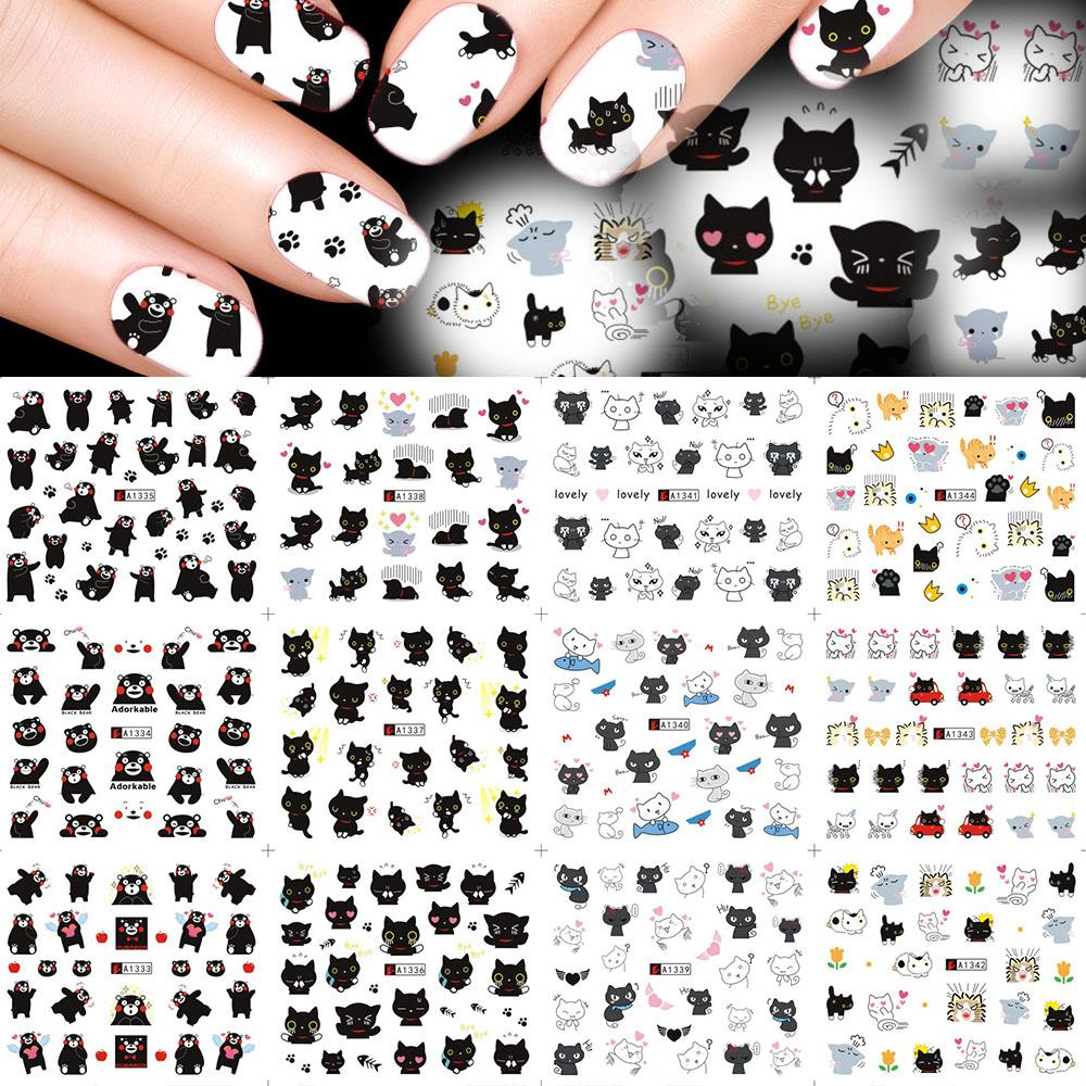 Großhandel Süße Trend 12 Designs Nette Schwarze Katze Nail Art ...