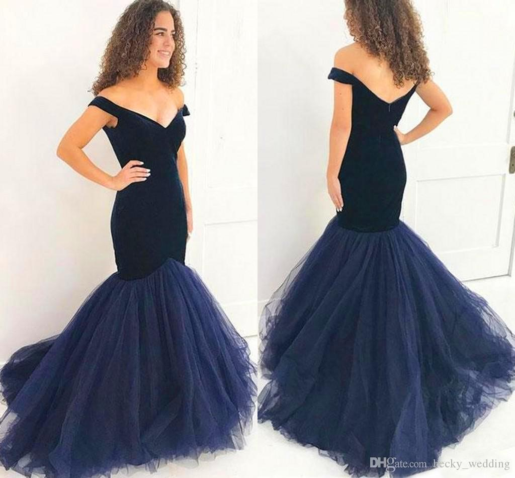 Elegant Navy Blue Mermaid Prom Dresses 2018 Off Shoulder Velvet