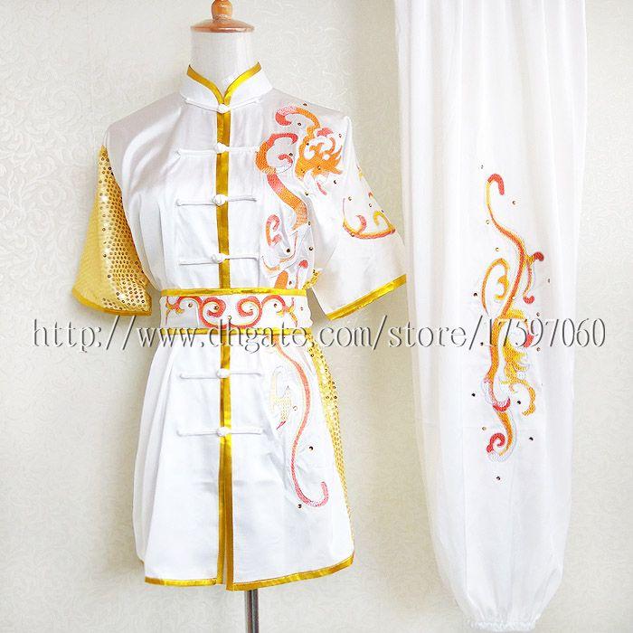 Uniformes de Wushu chinois Vêtements Kungfu Les arts martiaux portent une tenue de taolu costume de taichi vêtement changquan brodé pour hommes femmes garçon fille enfants