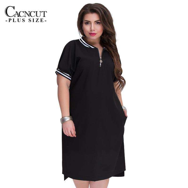 2019 CACNCUT 5XL 6XL 2018 Plus Size Straight Dresses Women O Neck With  Zippers Big Size Summer Casual Loose Solid Dress Red Vestidos Y1890704 From  Tao02 17ada134da98