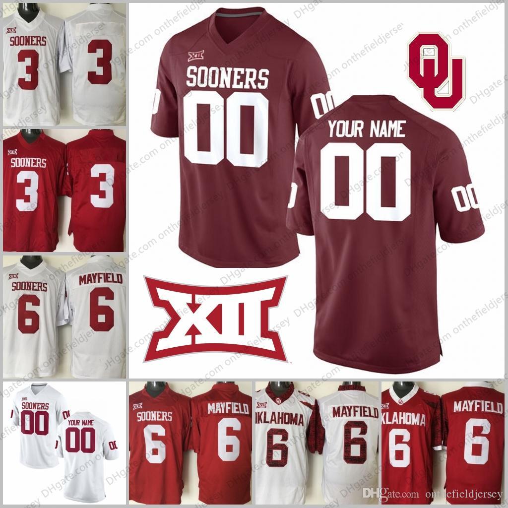 fc93e3a9f62 ... white alumni football jersey; 2018 custom oklahoma sooners 1 kyler  murray 2 ceedee lamb 2 jeff badet 3 mykel jones