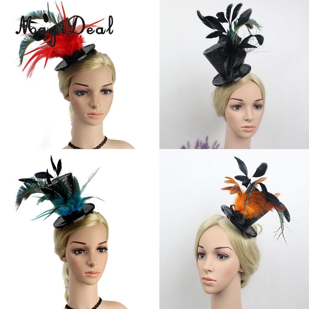 564871542e0be Compre Magideal Vintage Flapper Feather Top Hat Con Decoración De  Lentejuelas Años 20 Gran Gatsby Fascinator Charleston Party Fantastic Dress  A  24.9 Del ...