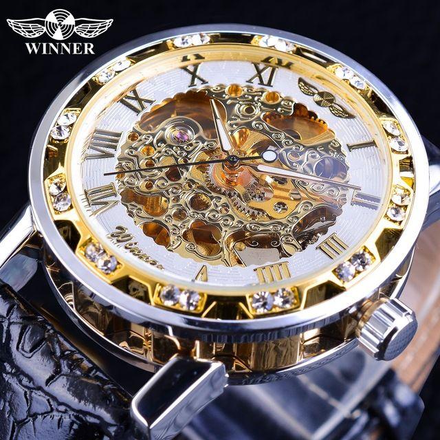 Wristwatches Retro Diamond Designer Display Luxury Clock Golden Hands Luminous Mechanical Winner Brand Watches Mens Black Skeleton Fashion jpSUqLMVGz