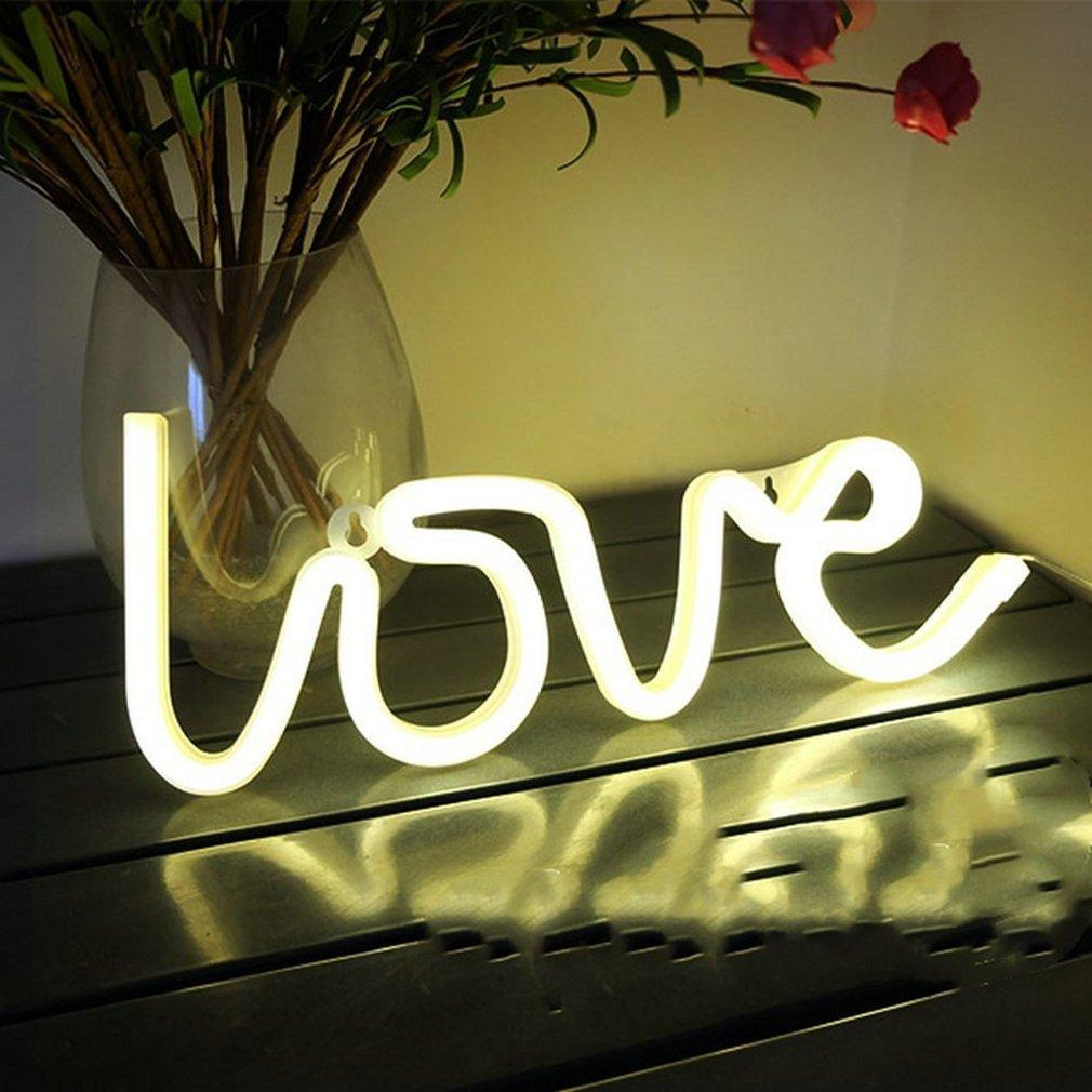 2018 Love Letters Shape Led Neon Night Light Wall Hanging For ...