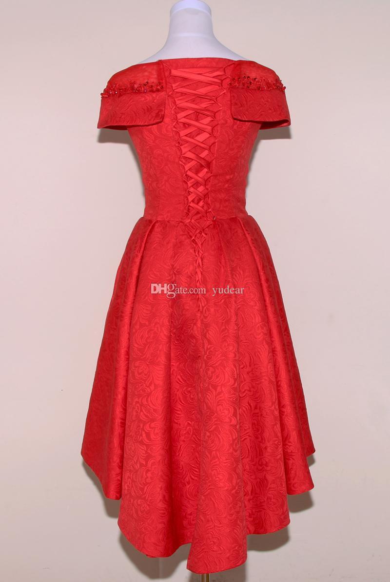 New Red Lace 2018 Bateau Short Evening Dresses A-line Hi-Lo Lace Up Girls Fashion Prom Host Gowns Cheap Bridesmaid Dresses Vestido de Novia