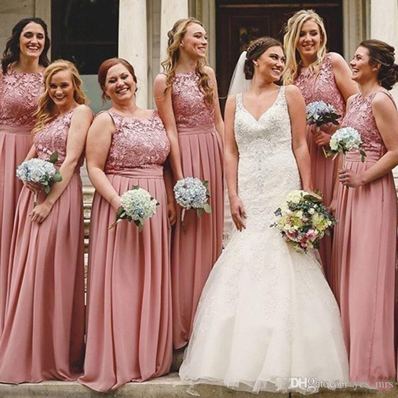 c5267e0dac67 2019 New Dusty Pink Bridesmaid Dresses Jewel Neck Lace Appliques Chiffon  Plus Size Long African Maid Of Honor Formal Wedding Guest Dress Lilac  Bridesmaid ...