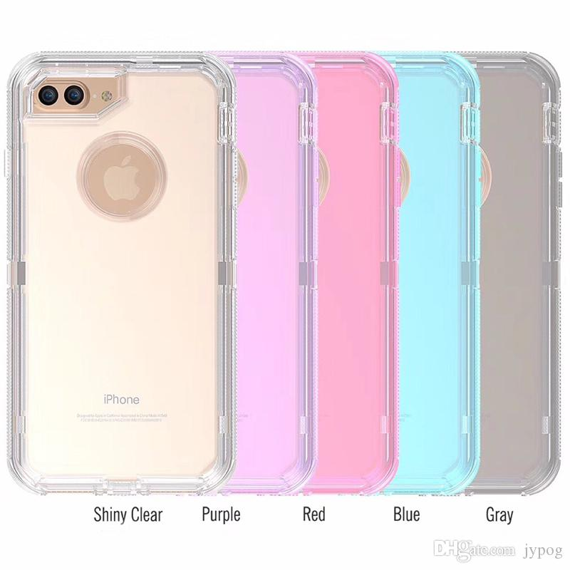For iPhone 8 Plus Case Heavy Duty 3in1 Defender Phone Cases Shockproof Transparent Protector with Dust Plug for iPhone 11 pro max