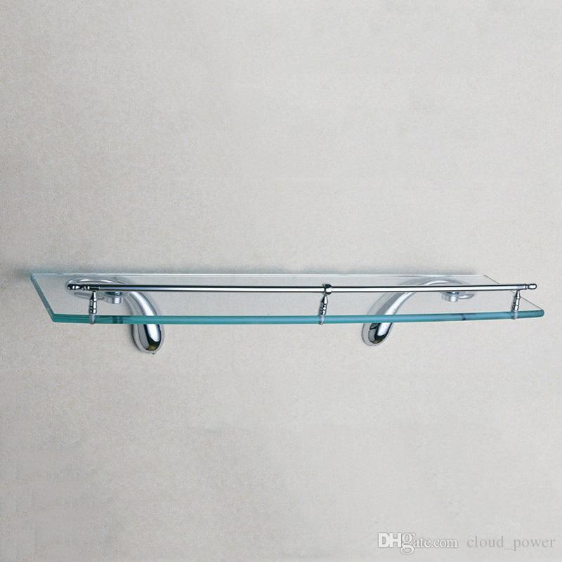2018 Glass Shelf 19.7 Inch Brass Single Bathroom Shelves Chrome Wall ...