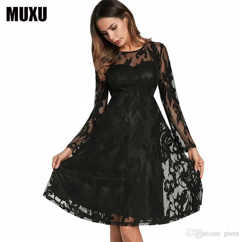 04931db9149fc Compre Vestido De Encaje Negro De Moda Sexy Vestidos De Mujer Ropa De Mujer  Vestidos De Renda Vestido De Manga Larga Bata Dentelle Sukienka A  45.99  Del ...