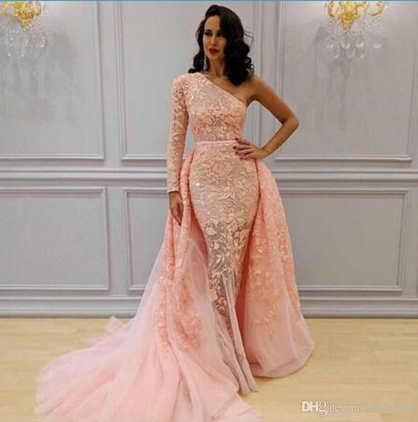 634fdf54575 Coral Lace 2018 Evening Dresses Overskirts Mermaid Formal Arbaic Long Prom  Dresses Single Long Sleeves Tulle Gorgeous Pageant Dress Evening Dress  Shops ...