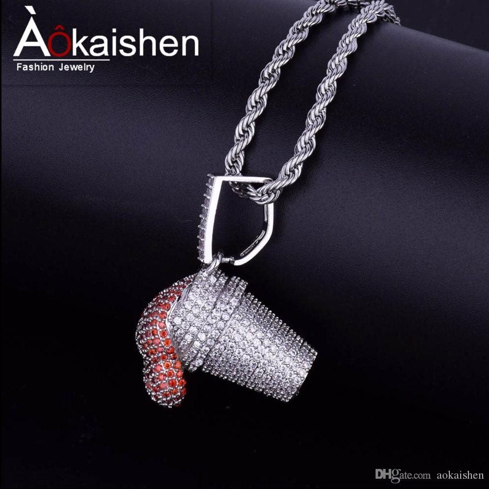 Wholesale Ice Cream Pendant Necklace Hip Hop Jewelry Hot Seller Men Women S  AAA Cubic Zircon For Rope Chain For Drop Shipping Silver Heart Pendant  Necklace ... 43f4be374