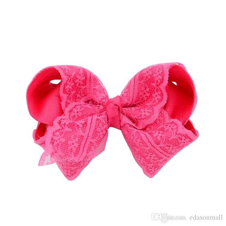 Elegant Flower Lace HairPins Hair bows For Younger Kids Newborn Girl Ribbon Bowknot Hair Clips Headwear D496Q