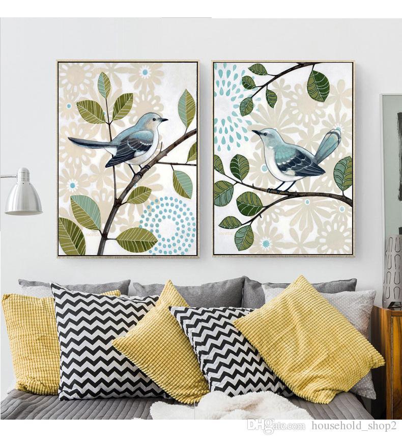 2018 dipinti murali in stile country retrò farfalla inseparabile re uccello Poster Canvas Art Print Pittura Immagini murali la decorazione domestica