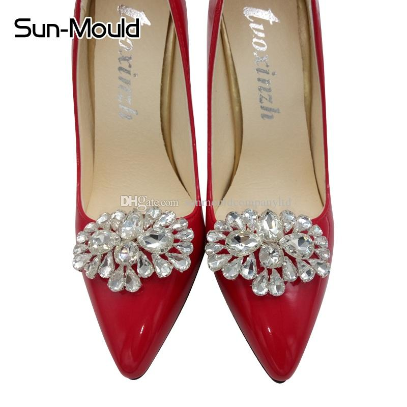 NEW lady shoes flower charms clips bridal high-heel pumps flats accessories crystal diamond flats shoe Fashion wedding decoration buckle