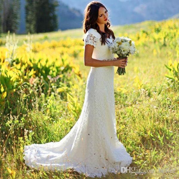 Discount 2018 Vintage Country Wedding Dresses A Line Jewel