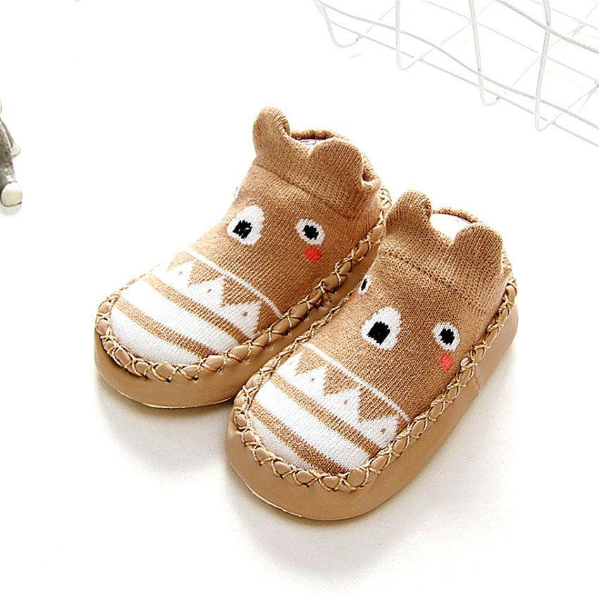 on sale 38d63 6ee06 Baby Schuh Socke Kinder Infant Kinder Cartoon Socken Baby Geschenk Kinder  Innenboden Socken Leder mit Gummisohle Rutschfeste Weiche