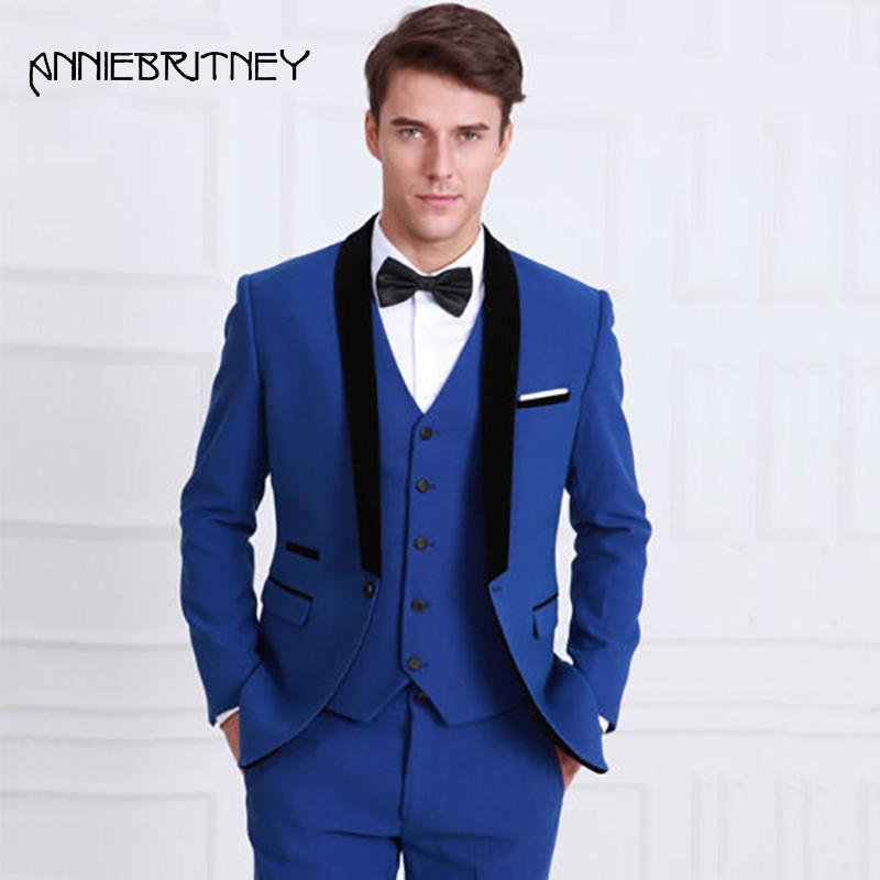 Compre Azul Royal Homens Ternos De Casamento Preto Xale Lapela Slim Fit Smoking  Noivo Melhor Homem Terno Blazers Noivo 3 Peças Calças Colete Ternos De ... 230936bce4e