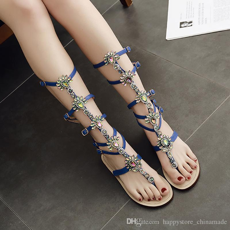 1fb388bc1aeb 2018 New Summer Women Sandals Rhinestone Gladiator Sandals Flat Shoes Thong  Sandals Crystal Women Ladies Party Shoes Plus Size Yxb1625 65 Cheap Shoes  For ...
