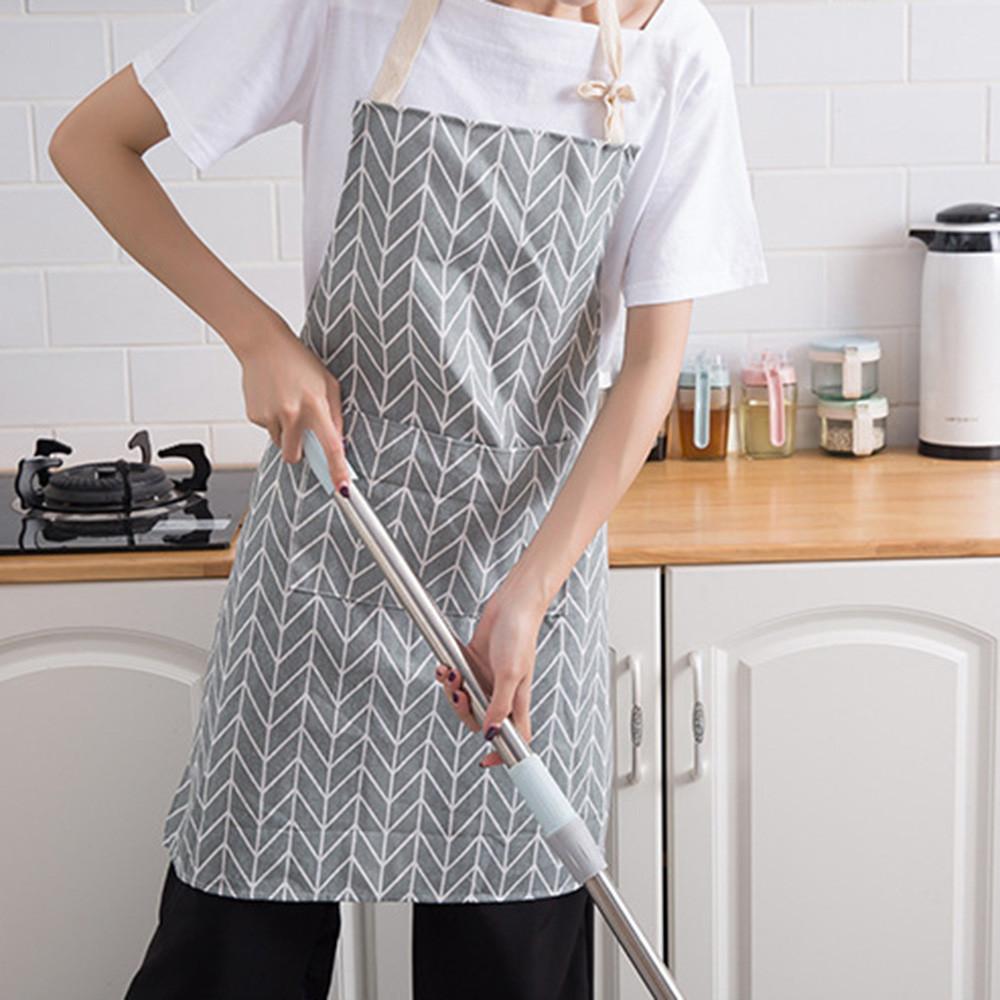 c61959bc4 2018 Plaids Simple Rayas Algodón Lino Delantal Mujer Adultos Baberos Cocina  para cocinar Hornear Cafetería Delantales de limpieza Accesorios de ...