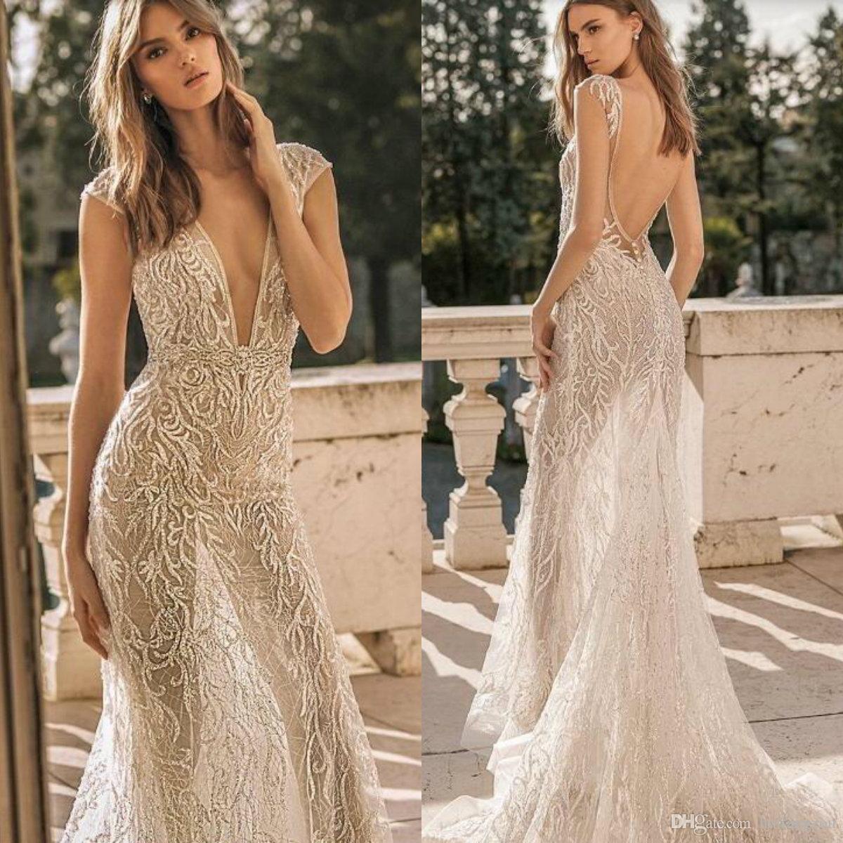 Berta 2019 Brautkleider Tiefem V Ausschnitt Luxus Appliques Perlen Meerjungfrau Hochzeitskleid Flugelarmeln Pailletten Backless Brautkleider