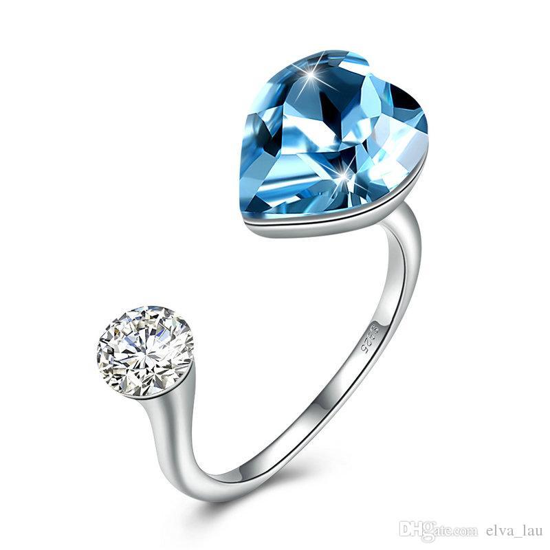 becec6960459 Forma do coração 925 Anéis De Prata Esterlina Para As Mulheres Rosa Céu  Azul Swarovski Elements Cristais Anel De Punho Com Zircônia Cúbica