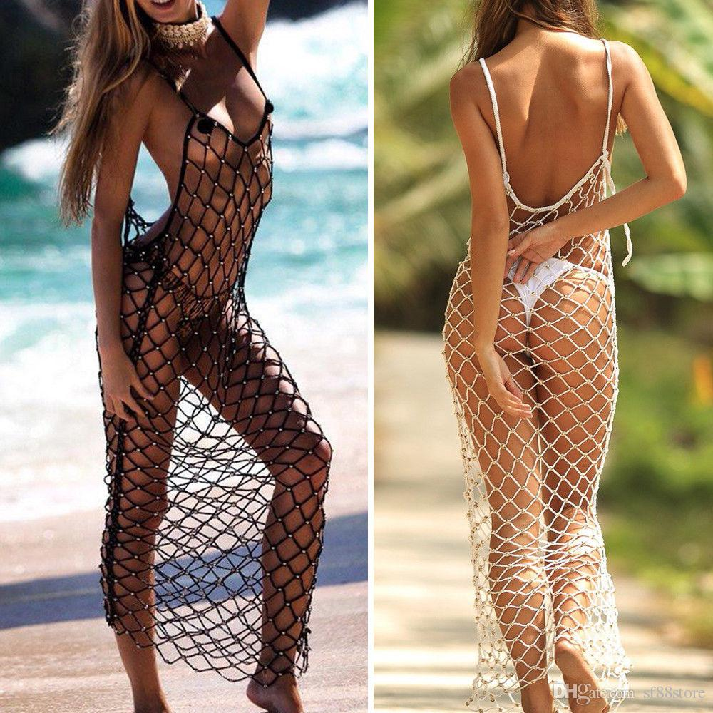 Sexy Women Crochet Beach Cover Up Fishnet Sarong Wrap Bikini Swimming Smock