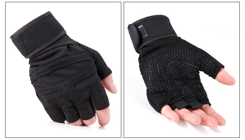 Dumbbell Wrist Strap Non-slip Unisex Equipment Strength Training Half Finger Breathable Sports Gloves Fitness Gloves Wholesale