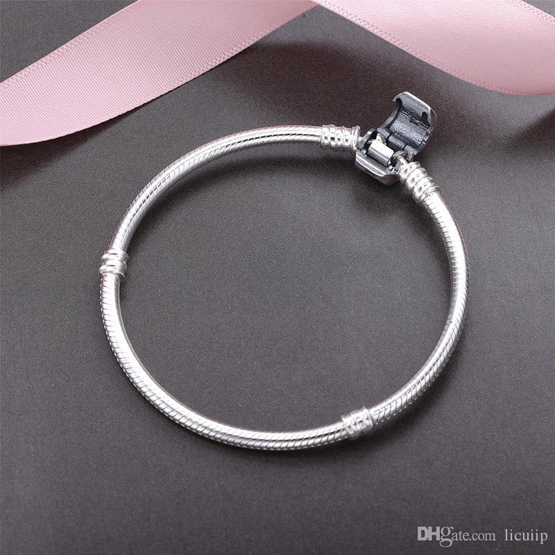 100% Real 925 Pulseras de Plata de ley 3mm Cadena de Serpiente Fit Pandora Charm Bead Bangle Bracelet DIY Jewelry Regalo Para Hombres Mujeres con caja