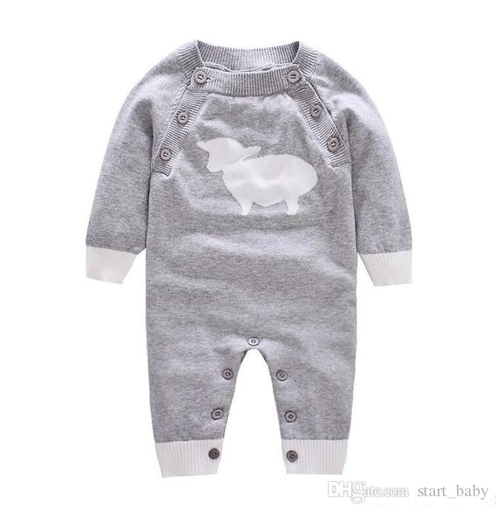 Baby cute knitted onesie for 0-2T toddlders animal knitting pattern long sleeve romper cute baby outfts for boys girls autumn winter