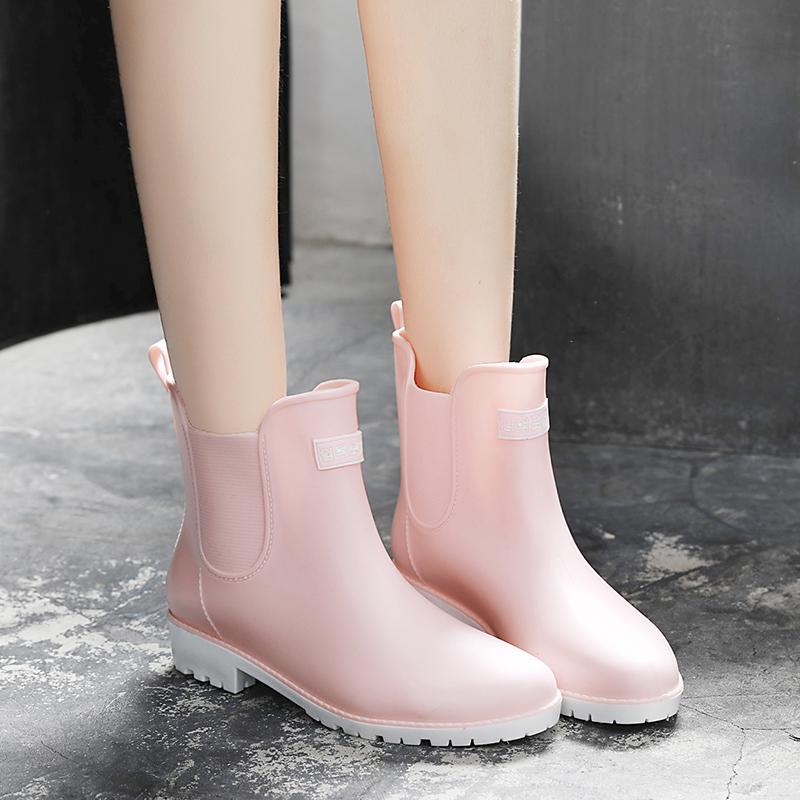 Shoes Spring And Summer Men Short Tube Rain Boots Ankle Rubber Boot Elastic Band Non-slip Waterproof Rainday Water Shoes Men's Casual Shoes