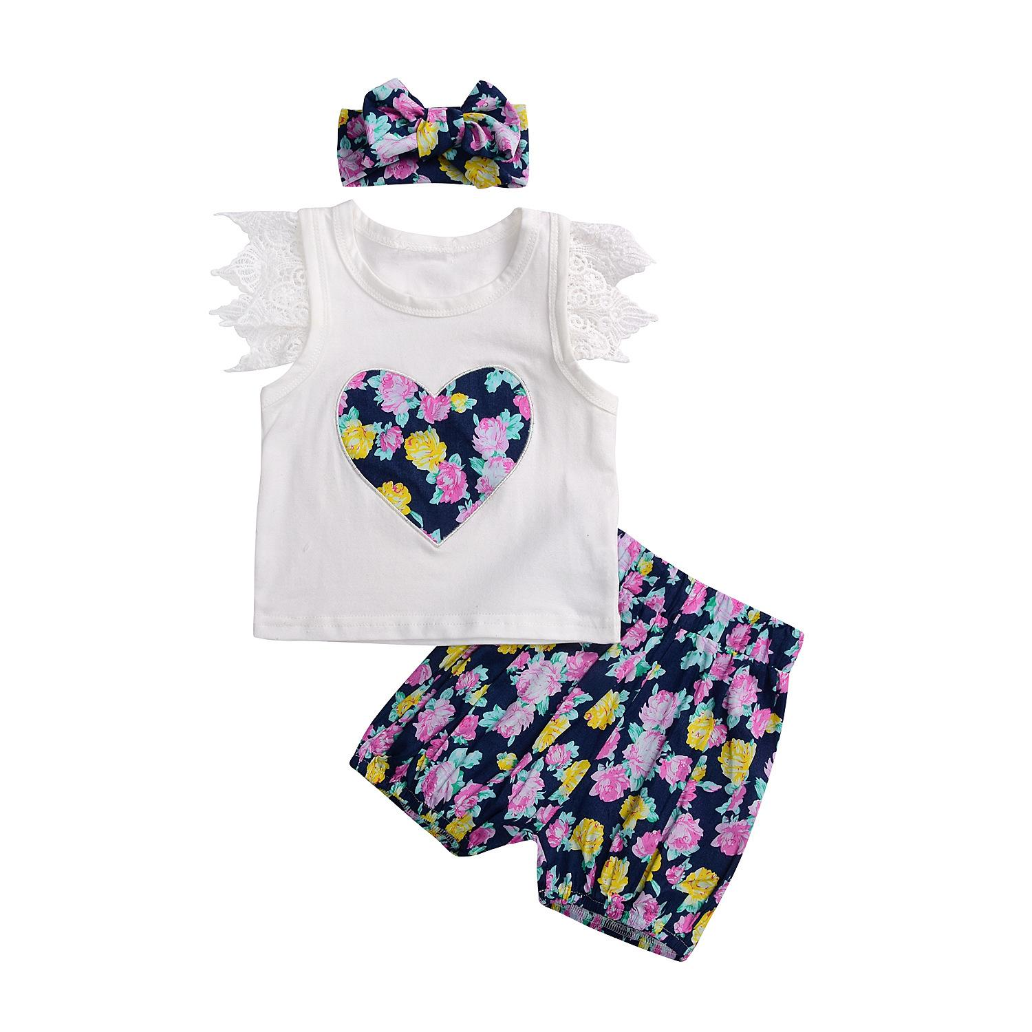 fd2afb8f9d3 Cheap Baby Girl Sets Children Clothing Summer Embroidery Heart Girls Suits Kids  Clothes Cotton T Shirt +short+headband Sets for Baby Girl